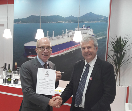 Philippe Berterottière Chairman and CEO GTT is receiving the AIP from Philippe Cambos Director - Senial Technical Advisor BV M&O.