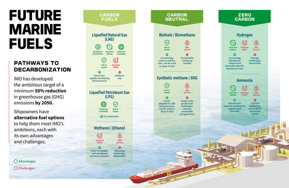 Future Marine Fuels Infographic : Pathways to decarbonization / IMO 2020